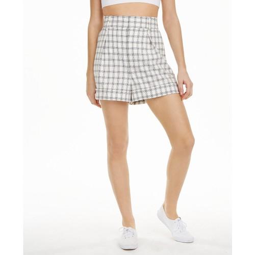 Danielle Bernstein Women's Plaid Shorts Natural Size 2
