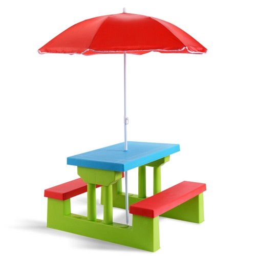 Costway 4 Seat Kids Picnic Table w/Umbrella Garden Yard Folding Children Be