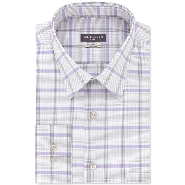 Van Heusen Men's Stretch Flex Collar Check Dress Shirt Gray Size 15-34-35