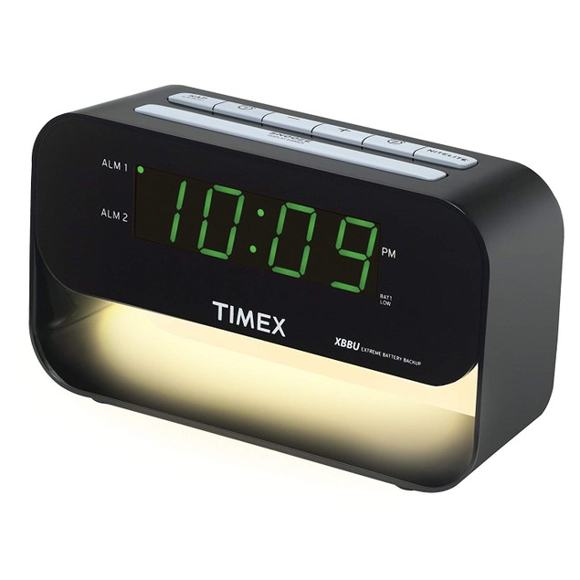 Dual Alarm Clock with USB Charging and Night Light Black