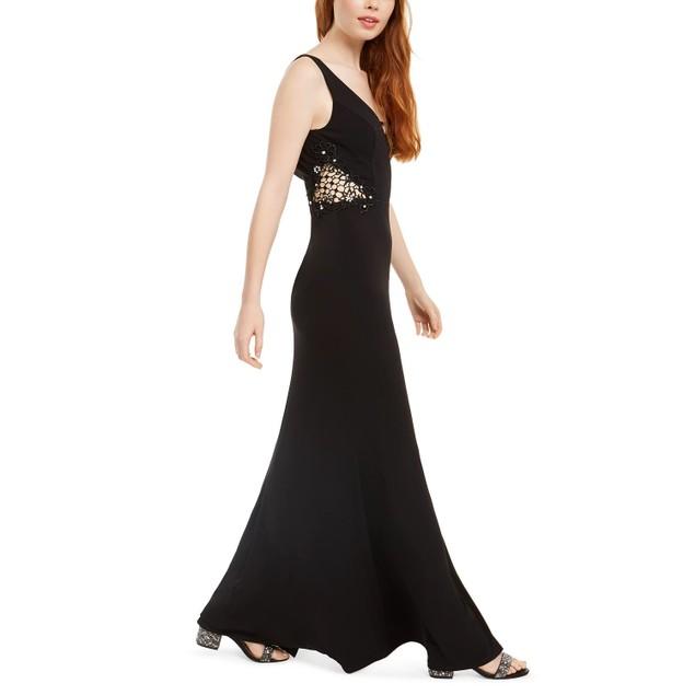 City Studios Juniors' Embellished-Applique Slit Gown Black Size 3