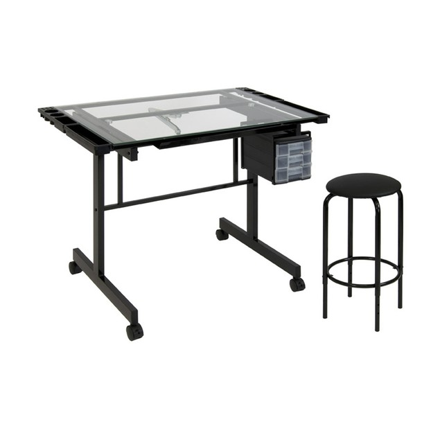 Studio 2 Piece Vision Craft Station 10055, Glass Craft Table, Silver/Blue