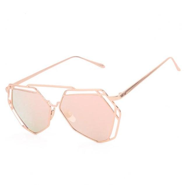 Twin-Beams Metal Frame Mirror Women Sunglasses Cat Eye Glasses