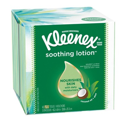 Kleenex Soothing Lotion Coconut Oil & Vitamin E Facial Tissue, 65 Ct, White