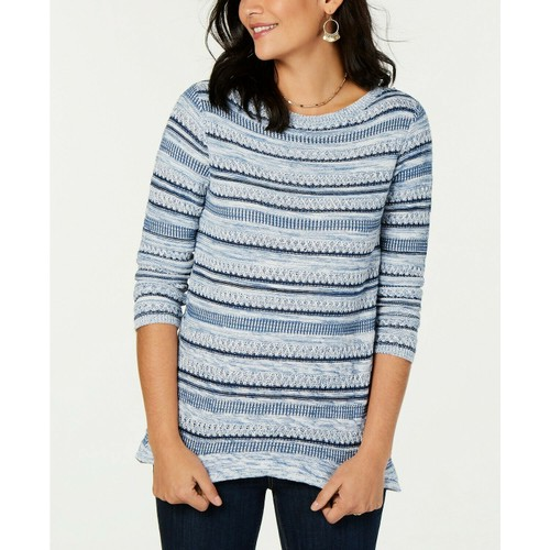 Style & Co Women's Striped Pullover Sweater Blue Size Large