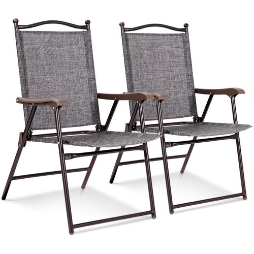 Costway Set of 2 Patio Folding Sling Back Chairs Camping Deck Garden Beach