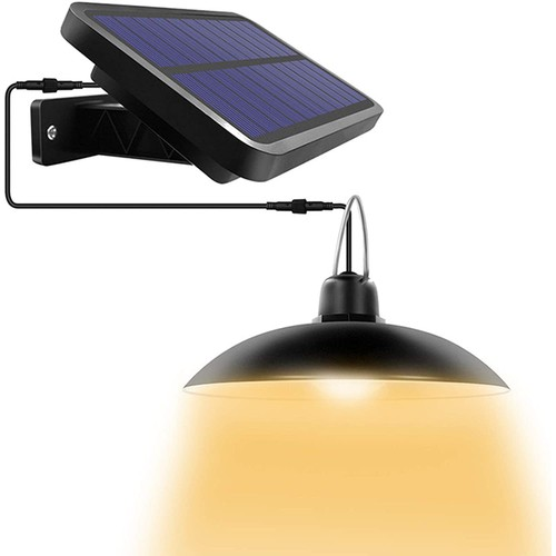 Outdoor Solar Pendant Wall Light Sensor PIR Motion LED Lamp Remote Control