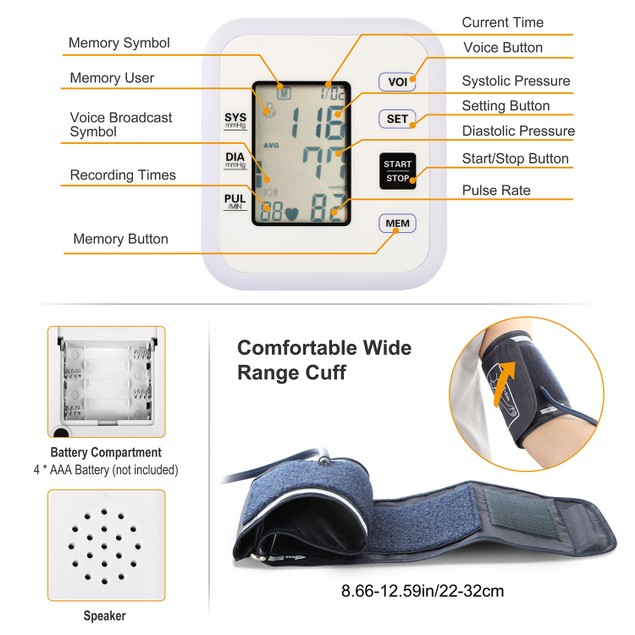 Arm Blood Pressure Monitor with Adjustable Cuff (8.7in-12.6in)