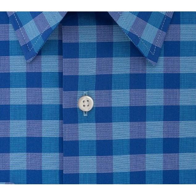 Van Heusen Men's Fit Flex Collar Check Dress Shirt Aqua Size 17-34-35