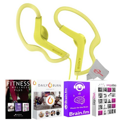 Sony MDR-AS210AP Sports In-Ear Headphones MDRAS210AP - Yellow +  92783 Fitness and Wellness Plus Software Suite
