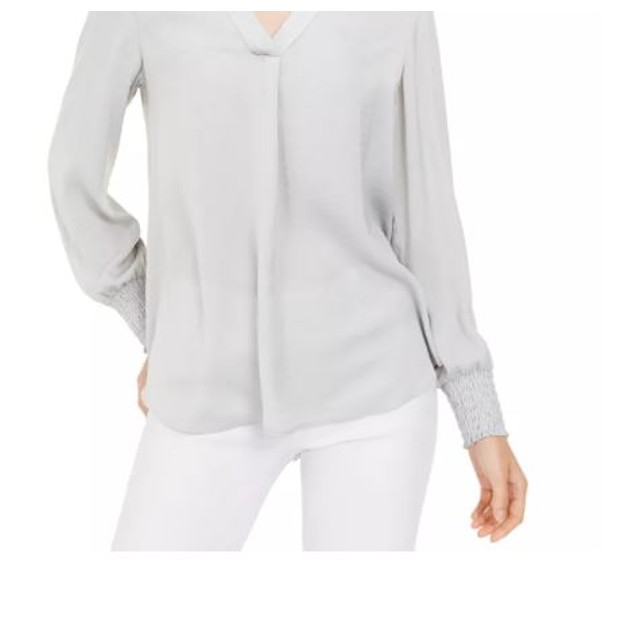 Alfani Women's V Neck Top Grey Size X-Large