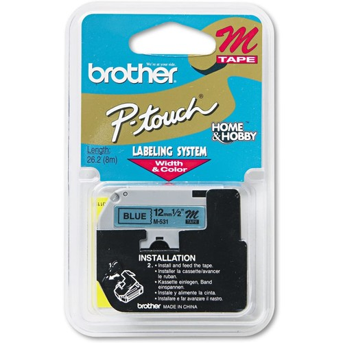 Brothers Brother M531 M Series Labeling Tape for P-Touch Labelers, 1/2-Inch w, Black on Blue