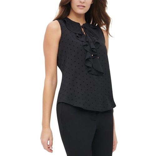 Tommy Hilfiger Women's Dot-Print Ruffled Top Black Size Small