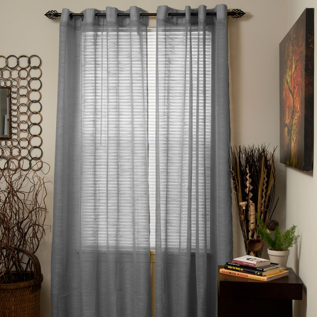 Lavish Home Mia Jacquard Grommet Curtain Panel - Grey
