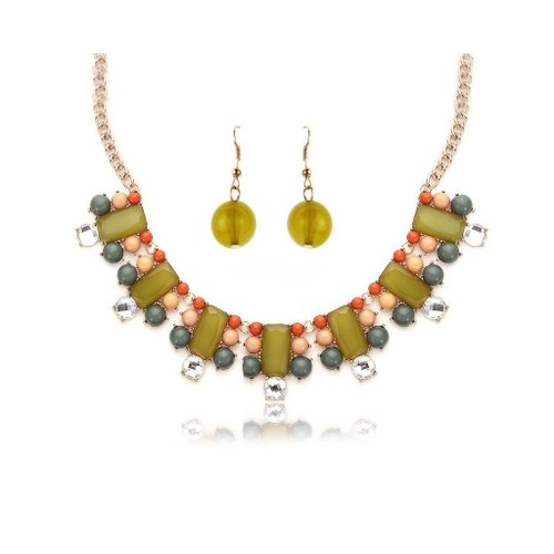 Novadab Spectacular Druze Rhinestone Necklace Set With Drop Earrings