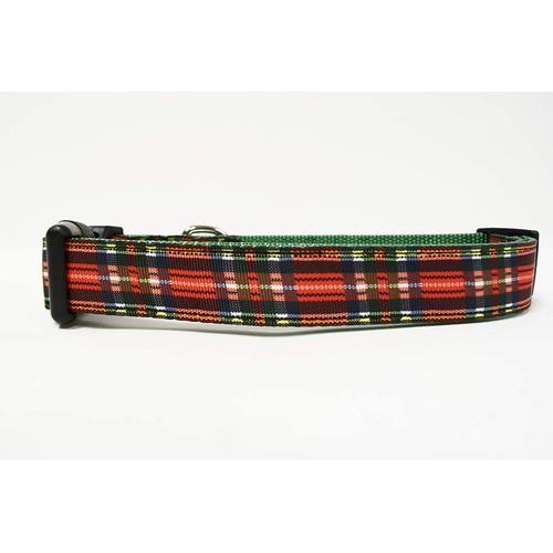 Midlee Red Plaid Chistmas Nylon Ribbon Dog Collar …