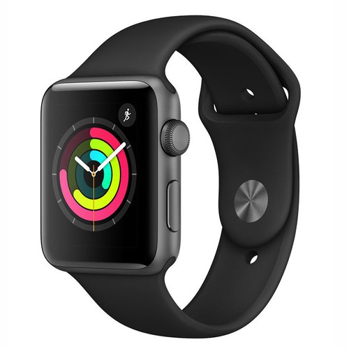 Apple Watch Series 3 38mm GPS Aluminum Space Gray Case with Black Sport Band - MQKV2LL/A