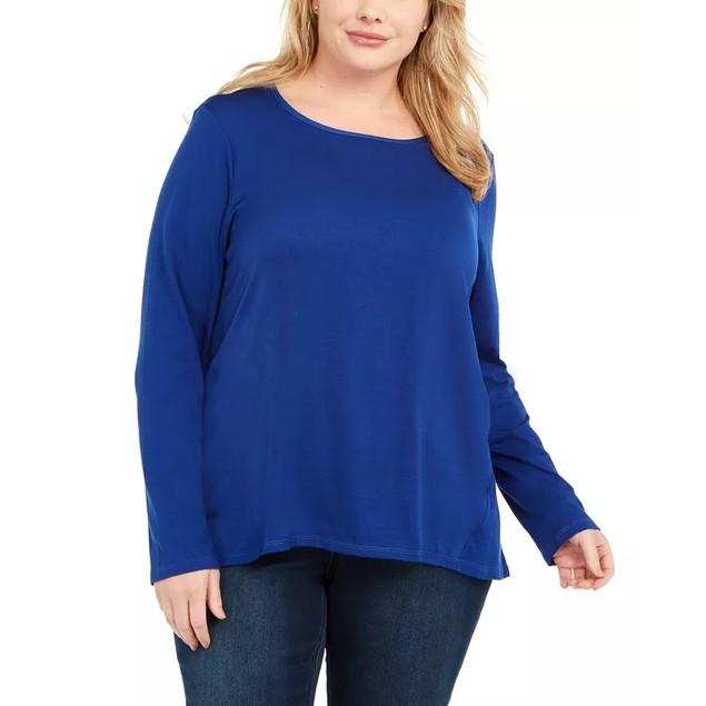 Michael Kors Women's Plus Crewneck T-Shirt Blue Size 2X