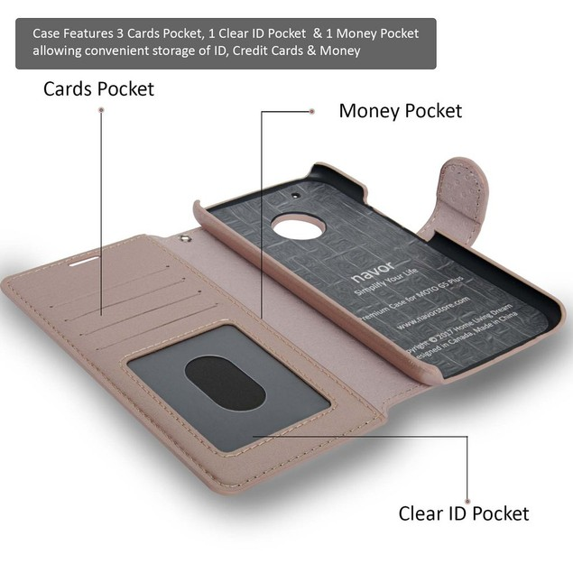 NAVOR Zevo Motorola Moto G5 Plus Slim Fit Wallet Case
