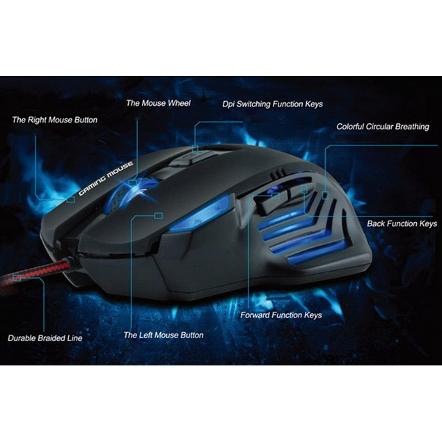 3200 DPI 6D LED Optical USB Wired Gaming Mouse
