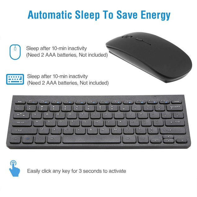 Wireless Keyboard and Mouse 2.4GHz Multimedia Mini Keyboard Mouse Combos USB Receiver