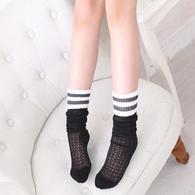 Children Kids Elasticity Preppy Style Stripe Knee High Socks Cute Socks