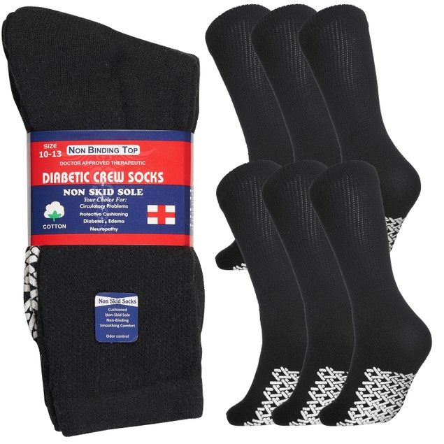 6 Pairs Physicians Approved Non Slip Diabetic Crew Socks Unisex Black Grey White