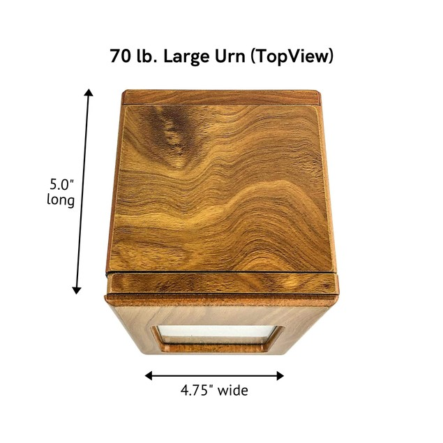 """Midlee Oak Picture Frame Pet Urn 6.5"""" x 4.75"""" x 5"""", Up to 70lb Pet"""