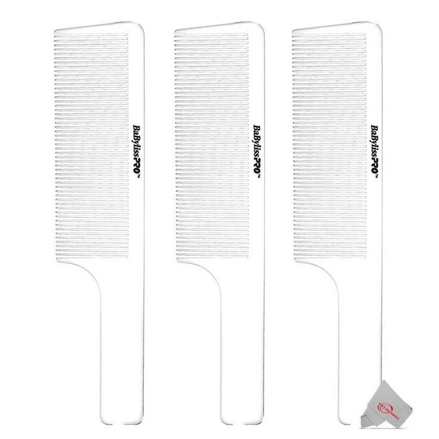 Three BaBylissPRO Barberology 9 Inch Clipper Comb - White