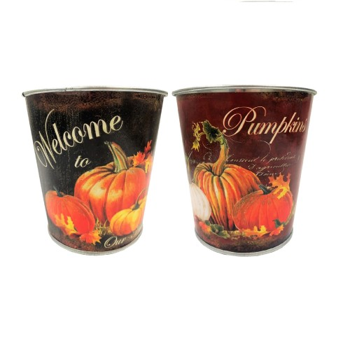 Hill's Import Round Vintage Pumpkin Decoupage Metal 2 Assorted Styles