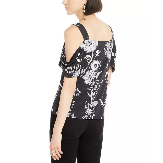 INC International Concepts Women's Cold-Shoulder Top Black Size Small