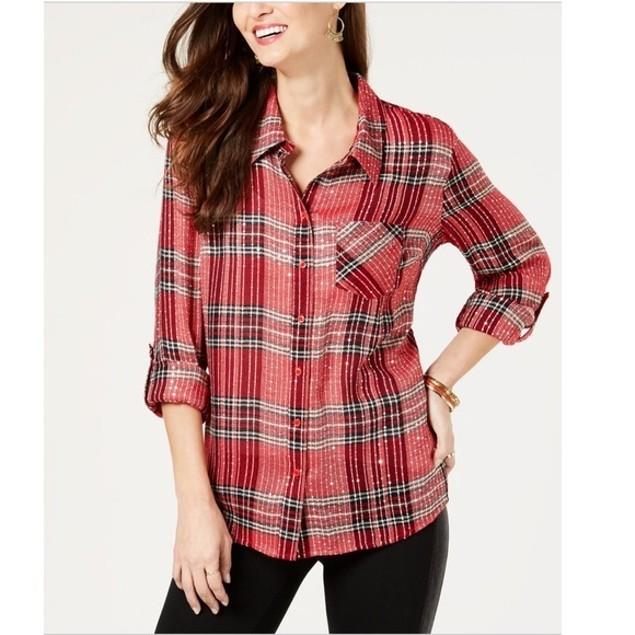 Style & Co Women's Sparkle Plaid Shirt Mediun Red Size Small