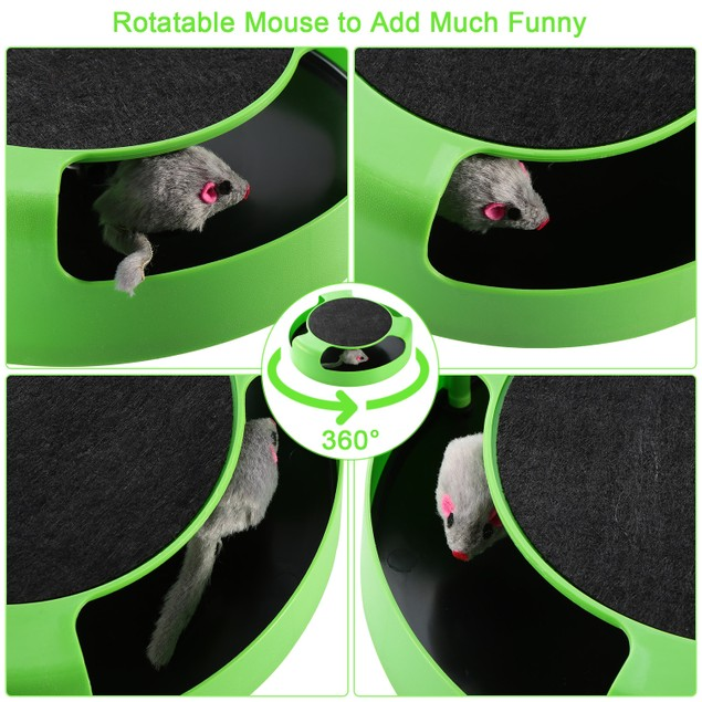 Cat Interactive Scratching Toy w/ Rotating Running Mouse Catching Plate