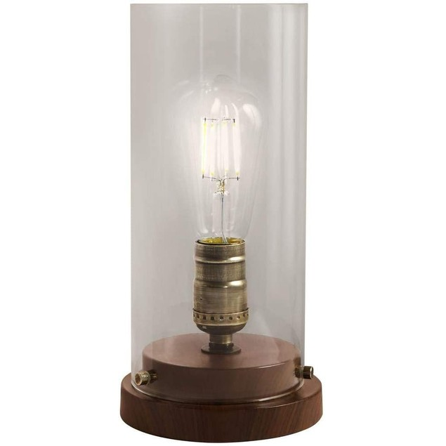 "Hampton Bay 10"" Faux Wood Uplight Glass Steel Cylindrical Touch Sensor Lamp"