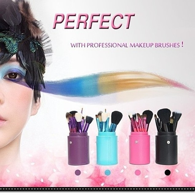 12 Piece Professional Makeup Brush Set-Comes In 4 Colors