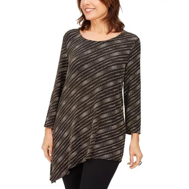 JM Women's Collection Asymmetrical Metallic Top Black Size Large