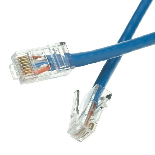 Cat6 Blue Ethernet Patch Cable, Bootless, 4 foot