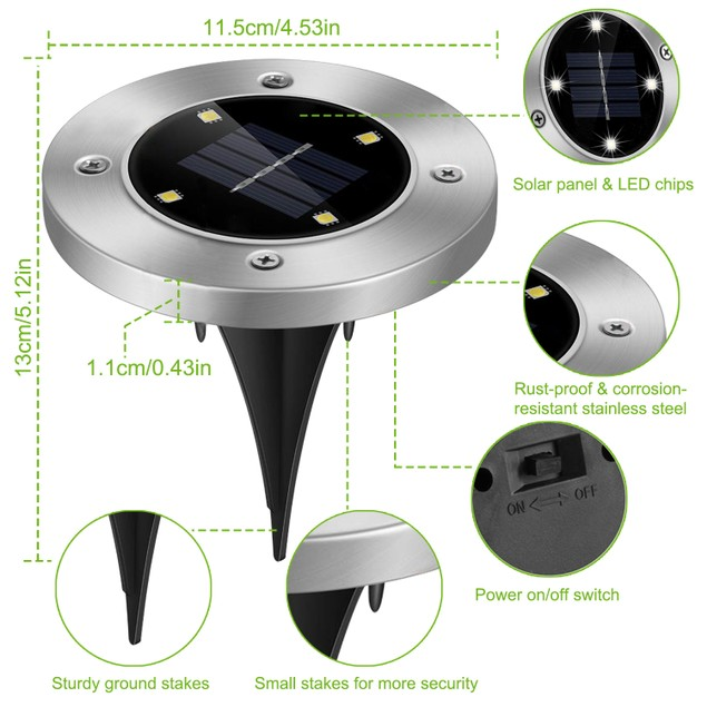 4pcs Solar Ground Light Waterproof Buried Lamp
