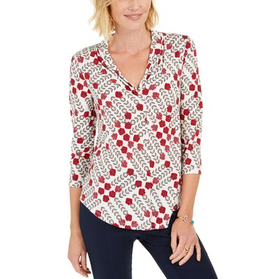 Charter Club Women's 3/4-Sleeve Top White Size Small
