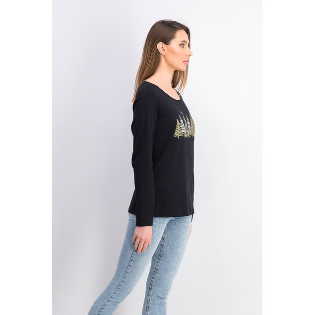 Karen Scott Women's Sparkle Holiday Graphic Shirt Black Size Small