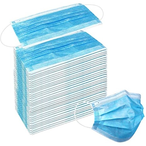 50 Pcs Disposable 3 Ply Earloop Face Masks, Suitable for Home, School