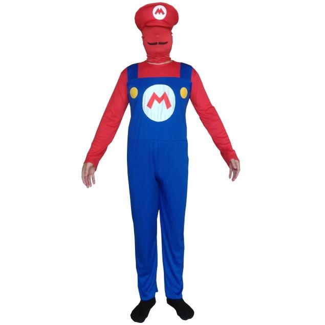 Mario Adult Costume Super Mario Bros Spandex Lycra Bodysuit Nintendo Mens
