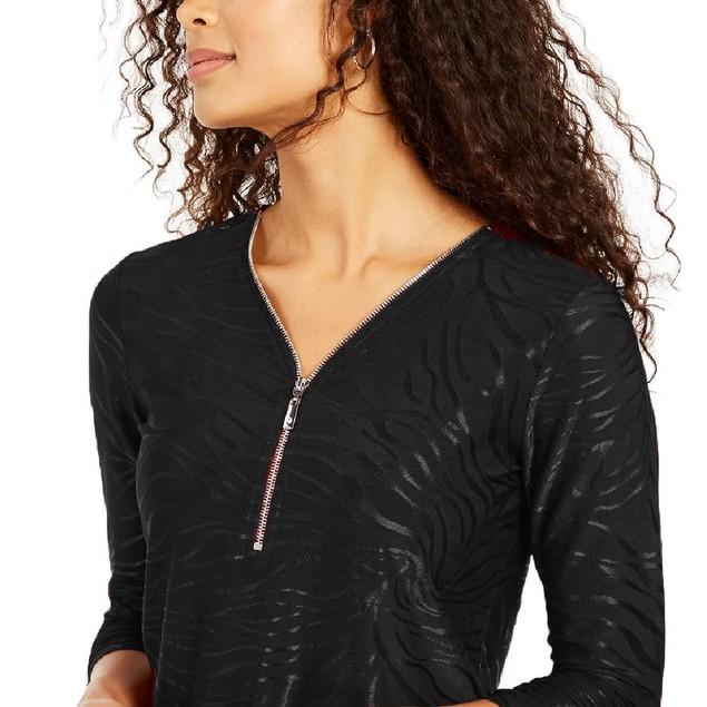 JM  Collection Women's Printed Velvet Zipper-Trim Top Black Size Large