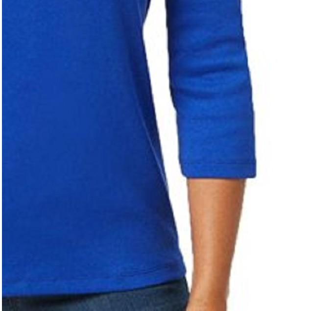 Karen Scott Women's Cotton Henley Top Blue Size Small