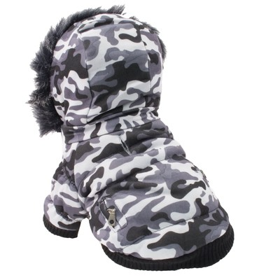 Classic Fashion Insulated Parka Dog Coat w/ Removable Hood