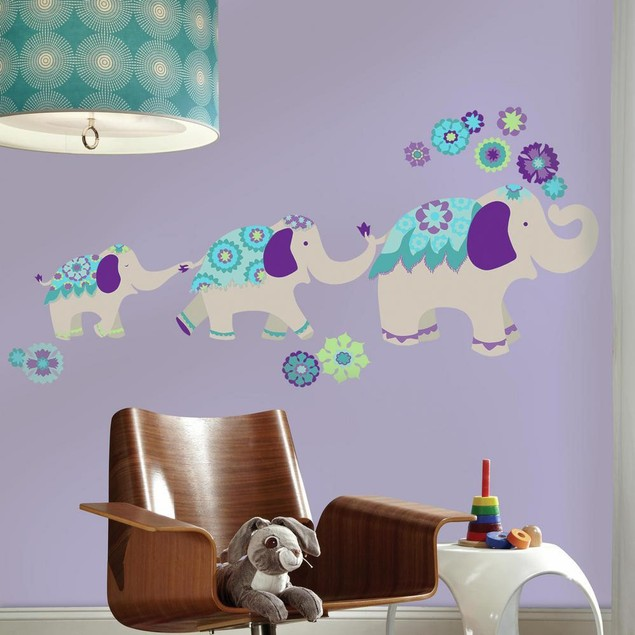 Roommates Wall Decor Waverly Teal And Purple Elephant Mega Wall Decals
