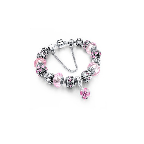 Pink Crystal Bracelet with Austrian Crystal and Ball Charm