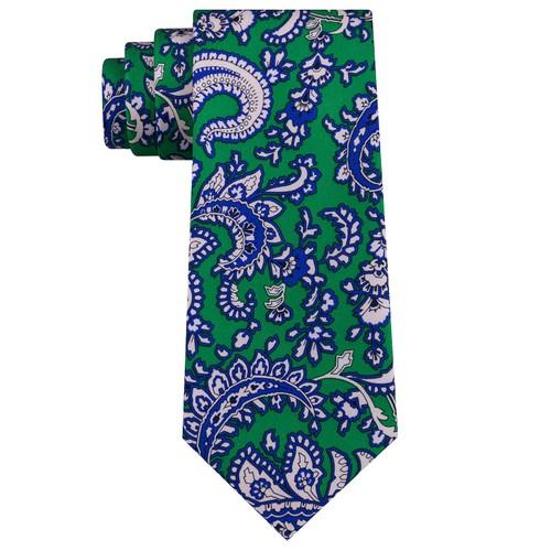 Tommy Hilfiger Men's Central Paisley Silk Tie Green Size Regular