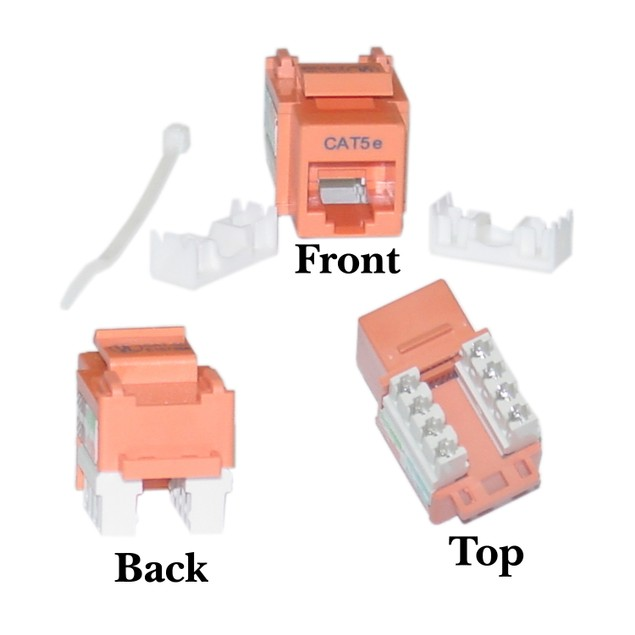 Cat5e Keystone Jack, Orange, RJ45 Female