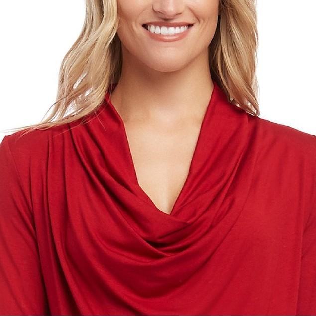 Karen Kane Women's Draped Cowlneck Top Red Size Large